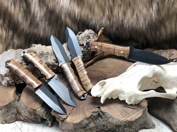 Disaster jr blade, black cerakote, Hawaiian Curly Koa wood, smooth grip, solid brass pins,
