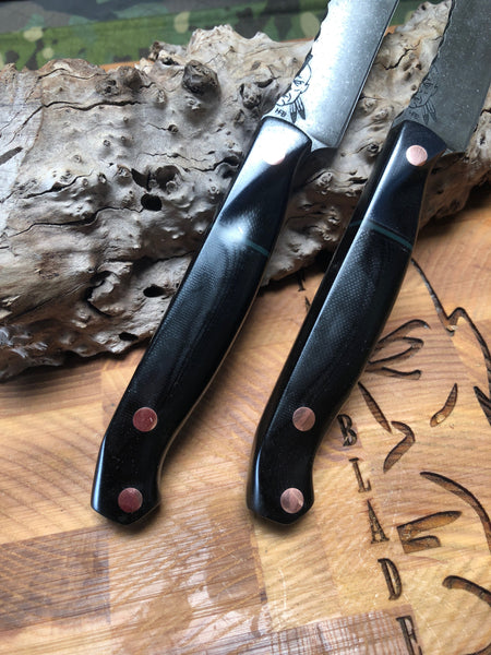 Steak knife set of 4, black and ghost G10 split, solid copper pins, blue liners,