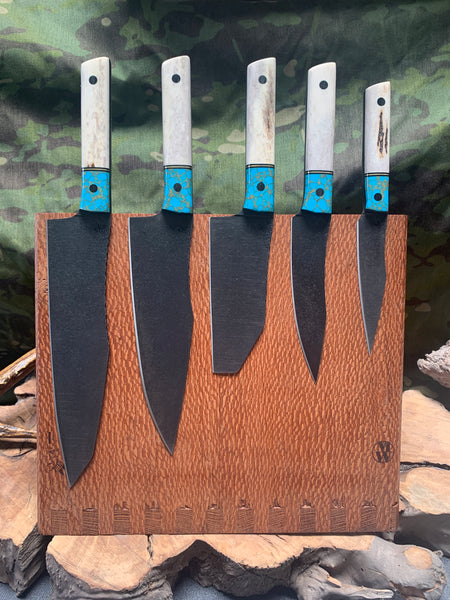 Chef blade set, 5 piece, Colorado elk antler, turquoise with gold web, brass pin striping, black G10 liners, carbon fiber pins, smooth grip,