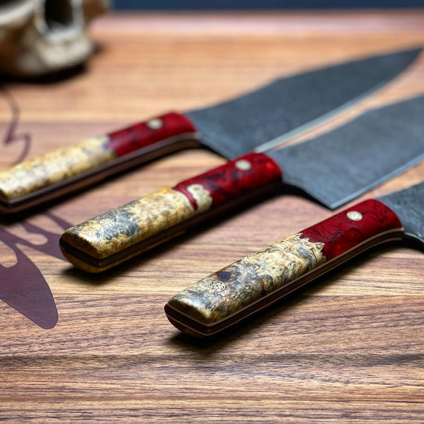 "Chef blade, 8"", red resin with natural box elder  burlwood, mosaic pins, g10 liners, smooth grip,"