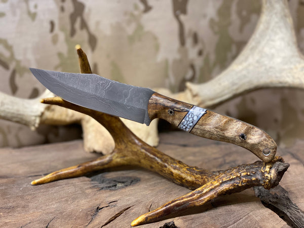 Crow scout blade, Damascus, spalted maple burlwood, white turquoise with black web, aluminum pin striping, black G10 liners, mosaic pins, stainless lanyard pin,