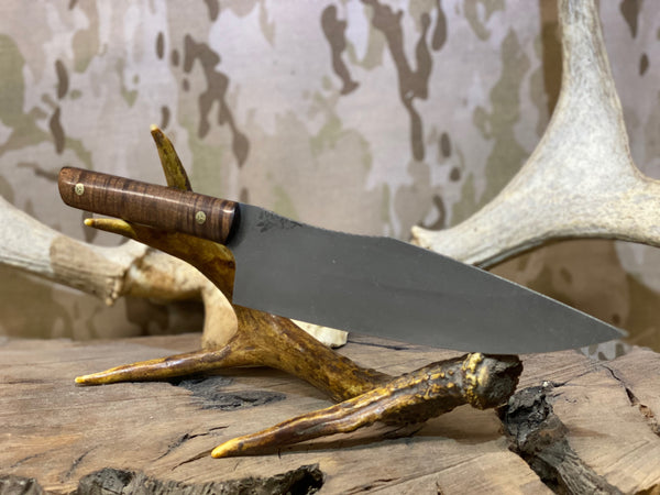 "Chef blade, 8"", Hawaiian Curly koa wood, mosaic pins, black g10 liners, smooth grip,"