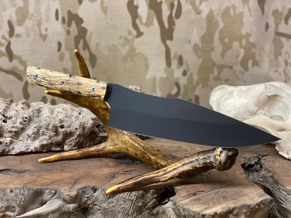 "Chef blade, 8"", spalted maple burl wood with aluminum liners, black g10 liners, stainless steel pins, smooth grip,"