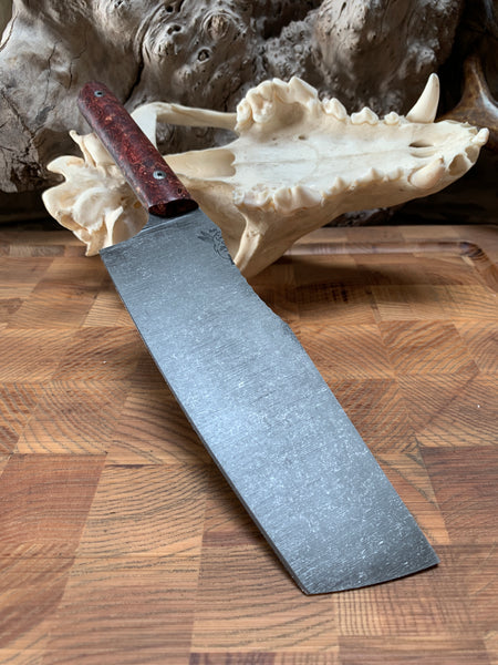 Nakiri chef blade, red stormy box elder burl wood, stainless steel mosaic pins, smooth grip,