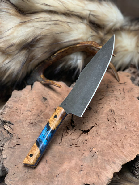 "Chef blade, 8"", curly maple burlwood with blue, black and pearl resin center, carbon fiber pins,"