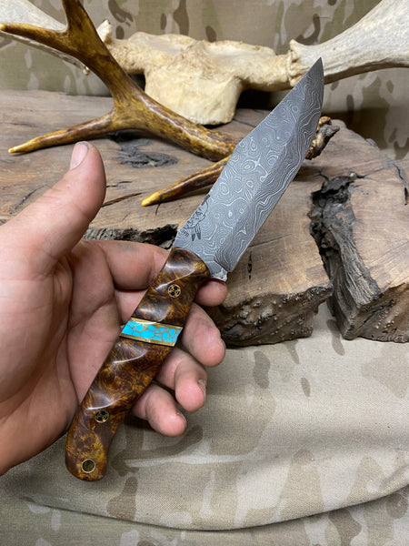 Crow scout blade, Damascus, dark maple burlwood split, turquoise with gold web, brass pin striping, black g10 liners, mosaic pins,