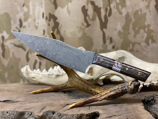 "Chef blade, 8"", Damascus, shaved fordite grip, fordite center, copper infused carbon fiber, mosaic pins,"