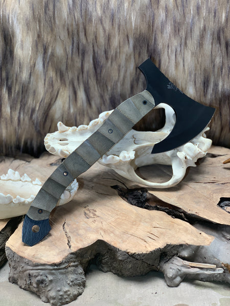 Viking hawk/hatchet, black cerakote, OD green micarta textured grip, hollow carbon fiber pins,