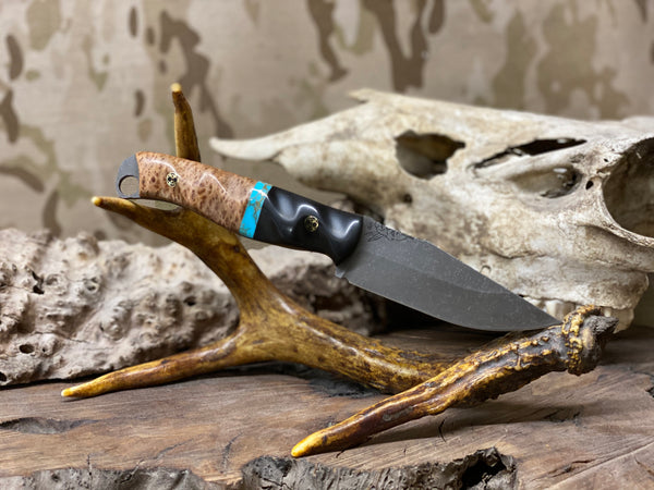Crow jr blade, old growth redwood split, turquoise with gold web, Ebony wood, brass and black mosaic pins, black G10 liners, textured