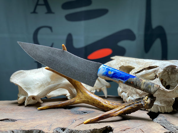 "Chef blade, 8"", blue and pearl resin mix, natural box elder burl wood, solid brass pins, smooth grip,"