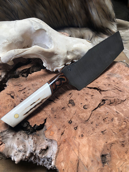 Nakiri chef blade, Colorado Elk antler split with python micarta, green, FDE and red pin striping, brass and red mosaic pin, solid brass pin, smooth grip,