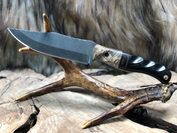 Crow scout blade, box elder burlwood, dark walnut center, black G10, CF pins, hollow brass lanyard pin,