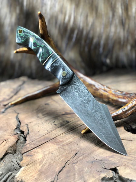"Widowmaker blade, Damascus, ""Jungle wear"" green carbon fiber split, lightning CF, black and OD green CF center, brass pin striping, black G10, solid brass pins, textured,"