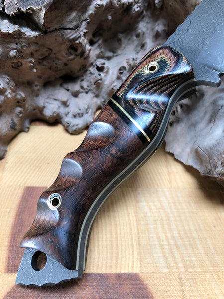 Widowmaker blade, Hawaiian curly Koa, brass liner, black g10 liner, python micarta, textured,