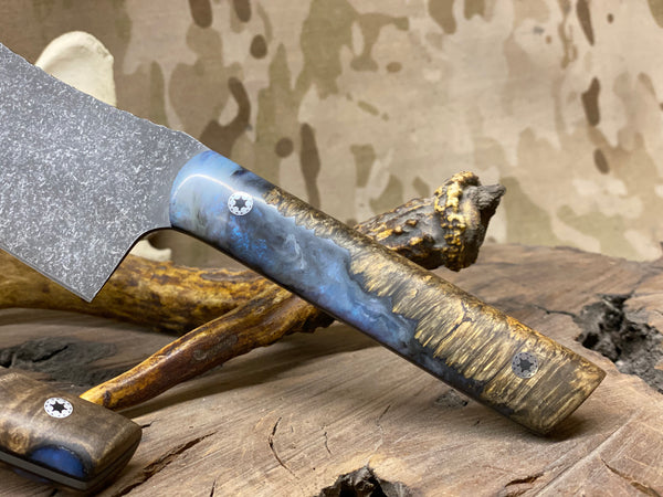 "Chef blade, 8"", dark box elder burlwood with night sky blue and pearl resin, black g10 liners, stainless mosaic pins,"
