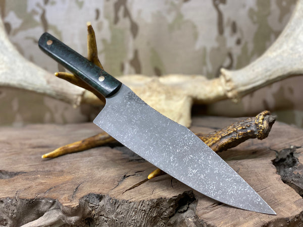 "Chef blade, 8"", dark green stormy maple burlwood, solid brass pins, fde g10 liners,"