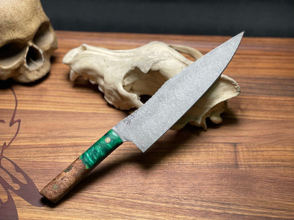 "chef blade, 8"", maple burlwood with pearl dark green and black resin, black and green G10 liners, mosaic pins, smooth grip,"
