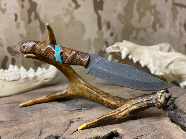 Crow scout blade, top grade Hawaiian Curly Koa wood split, turquoise with gold web, brass pin striping, black G10 liners, brass mosaic pins, brass lanyard pin,
