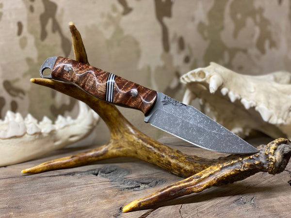 Crow jr blade, high grade Hawaiian Curly Koa wood, aluminum spacer with aluminum pin striping, black G10 liners, stainless steel mosaic pins,