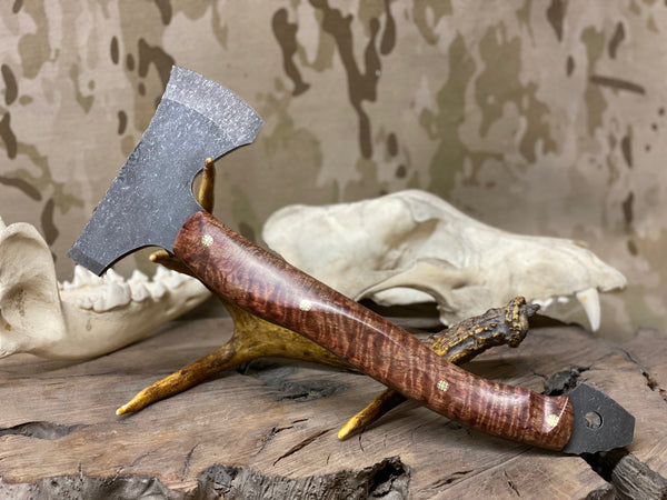 Camp hatchet, curly dyed natural mano wood, copper and brass mosaic pins, black G10 liners,