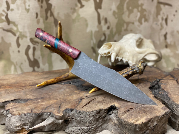 "Chef blade, 8"", red stormy maple burl wood split, teal paper micarta, black G10 liners, copper and brass mosaic pins, smooth grip,"