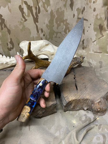 "Chef blade, 8"", light maple burlwood with blue, black and pearl gloss resin, brass mosaic pins, black G10 liners, smooth grip,"