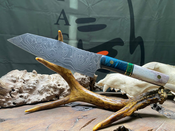 Santoku chef blade, damascus, Alaskan caribou antler, Arizona jade with gold web, green G10 and brass pin striping, solid brass pins, blue maple burlwood top, both grip,