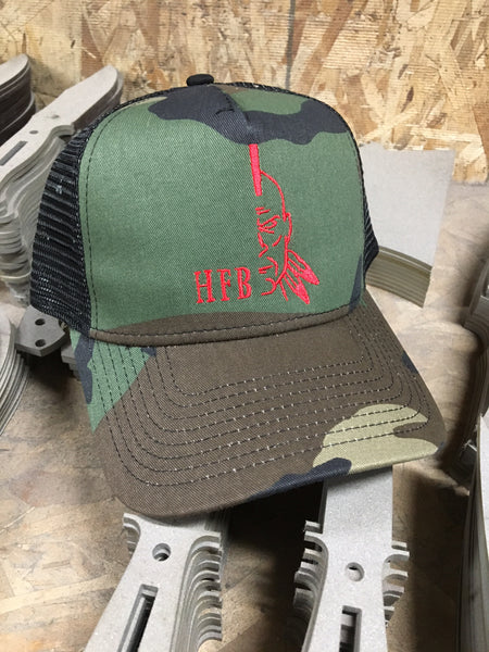 Woodland Camo Red HFB Logo Hat