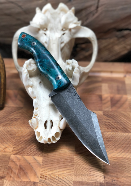 widow maker blade, teal stormy box elder burl wood, stainless steel mosaic pins, copper lanyard pin, smooth grip,