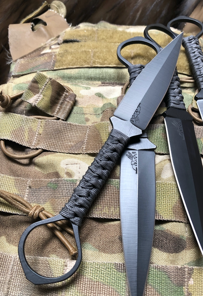 Ring daggers, matte black cerakote finish, MAS grey paracord wrap grip,