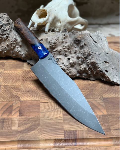 "Chef blade, 8"", dark birds eye maple burl wood with ocean blue and pearl resin, mosaic pins, smooth grip,"