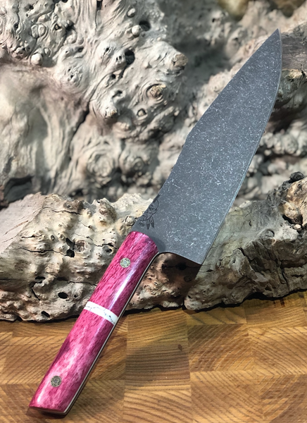 "Chef blade, 8"", pink giraffe bone split, white turquoise with black veins, white G10 liners, mosaic pins, smooth grip,"