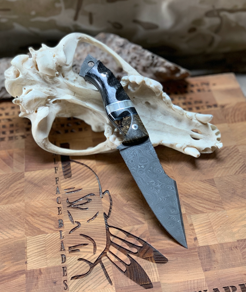 Widow maker blade, damascus, stormy box elder bur wood split, lighting carbon fiber, stainless steel honeycomb with pearl resin, black G10 liners,