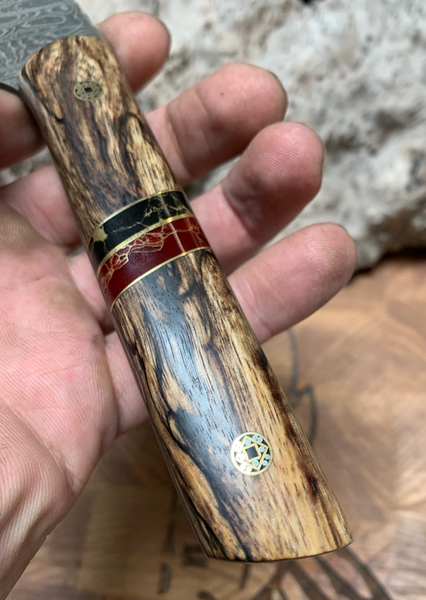 Chef blade, damascus, spalted tamarind wood split, onyx with gold veins, jasper with gold veins, brass liners, mosaic pins,
