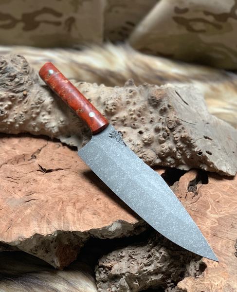 "Chef blade, 8"", fire red stormy box elder burl woods, smooth grip, mosaic pins,"