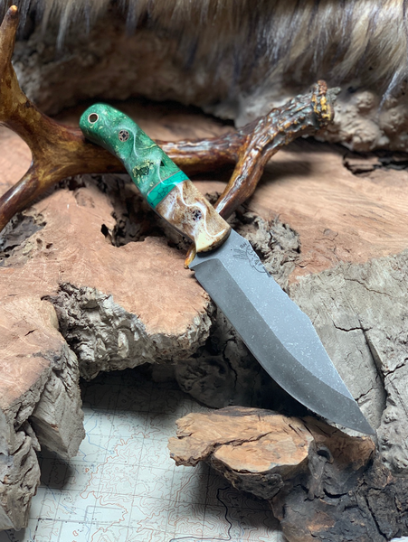 Crow scout blade, giraffe bone bolster, green malachite, dyed green stormy box elder burl wood, mosiac pins, hollow copper lanyard pin