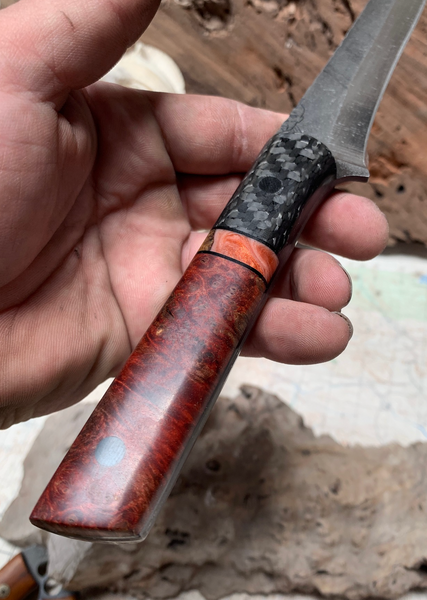 Filelt blade, large, red stormy box elder burlwood split, orange resin with curly maple, lightning carbon fiber, carbon fiber pins, black G10 liners,