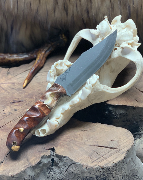 Crow scout blade, Giraffe bone split, Hawaiian Curly koa center, desert ironwood, slolid brass pins, brass pin striping, black G10 liners,