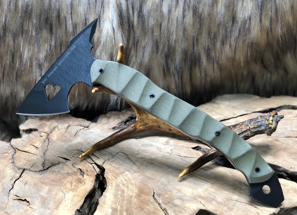 Bleeding heart hawk, cerakote, olive green micarta, textured grip, hollow carbon fiber pins,