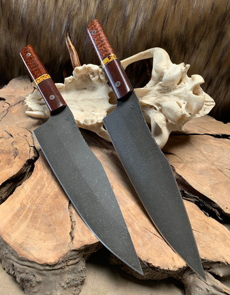 "Chef blade, 8"", red storm micarta split, trustone dino bone, snakewood, copper and black G10 liners, copper and stainless mosaic pins,"