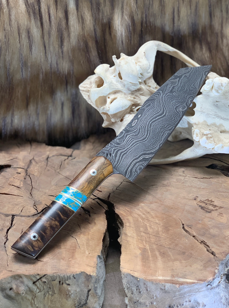 Santoku chef blade, damascus, spalted tamarind split, turquoise with gold web, dark curly koa, stainless steel mosaic pins, brass pin striping, white G10 liners,