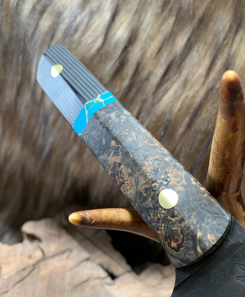 "Chef blade, 10"", stormy box elder burl wood, turquoise with gold web, black and MAS grey G10, soldi brass pins, black G10 liners,"