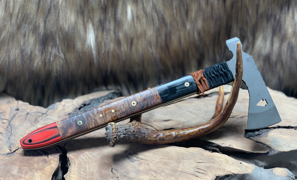 Arrowhead hawk/hatchet, Hawaiian curly koa, red and black G10, black G10, white and yellow G10 liners, mosaic pins, solid brass pins, black CF lanyard pin,