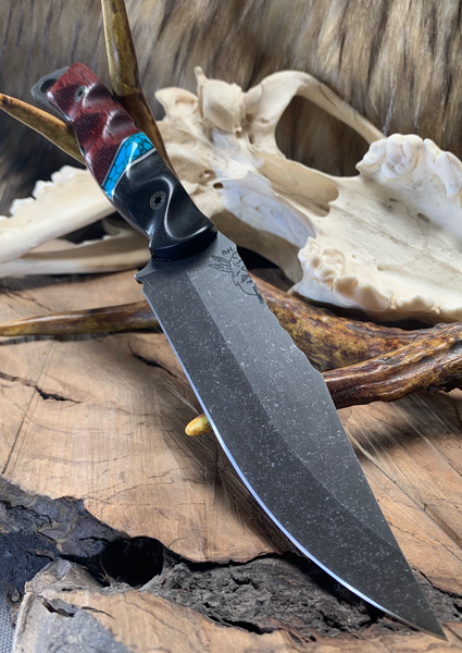 Crow scout blade, African black wood split, turquose with black veins, paduk wood, stainless steel pin striping, black G10 liners, stainless steel mosaic pins,