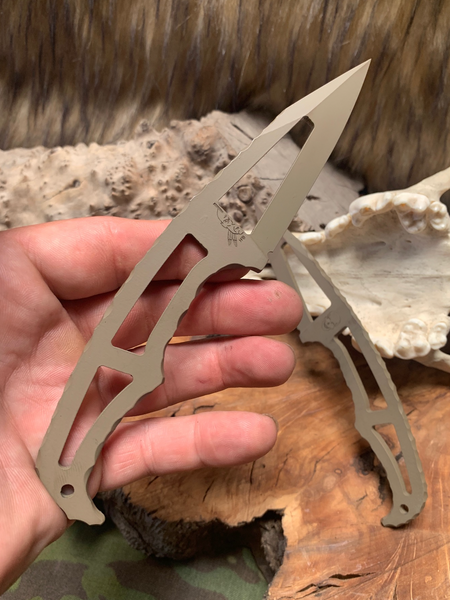 Jack Skellington blade, flat dark earth cerakote, rock work around grip, skeletonize steel,