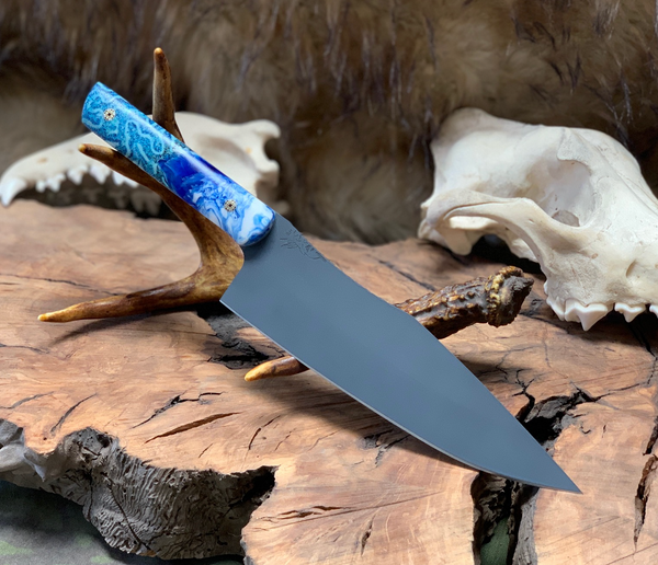 "Chef blade, 8"", cobalt blue cerakote, blue coral mixed with blue and pearl resin, mosaic pins, blue and white G10 liners, smooth grip,"