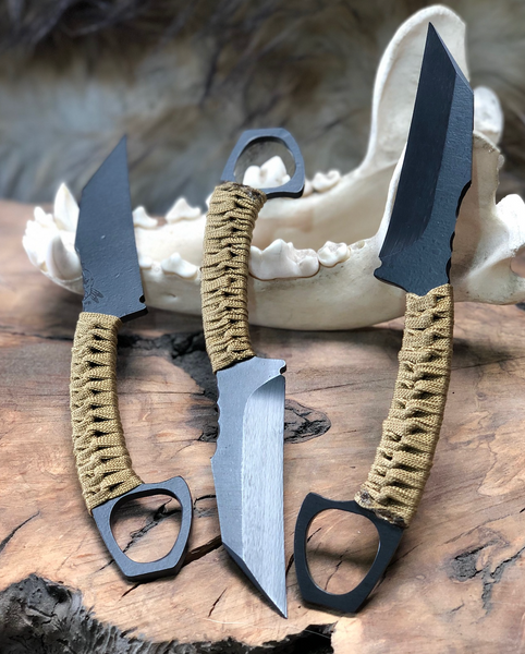 SHPOS blade, desert tan paracord wrap, elite black cerkote,