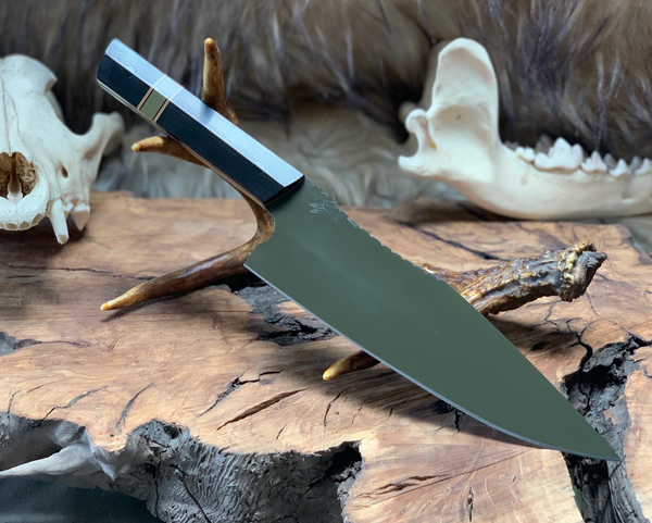 Chef blade set, black G10 split, OD green G10 spacer, flat dark earth G10 liners, cf pins, OD green eltie cerakote,