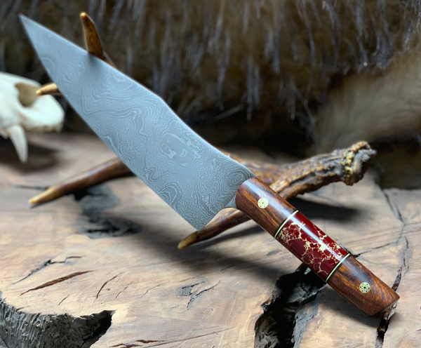 "Chef blade, 8"", jasper with gold web, desert ironwood, brass mosiac pins, brass pin striping, black G10 liners, smoothg grip,"