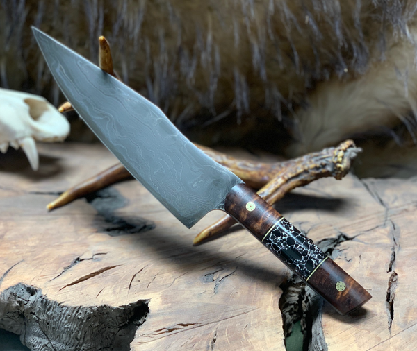 "Chef blade, 8"", damascus, black and white trustone, Hawaiian curly koa wood, mosaic pins, brass pin striping, black G10 liners,"